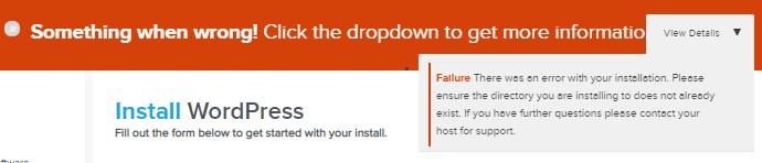 QuickInstall - Not Empty Directory