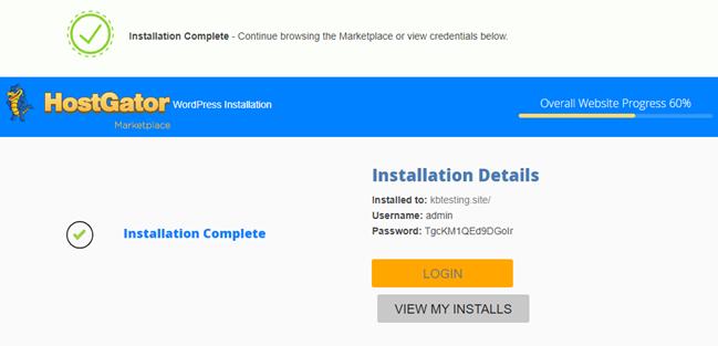 QuickInstall Wordpress Install Complete