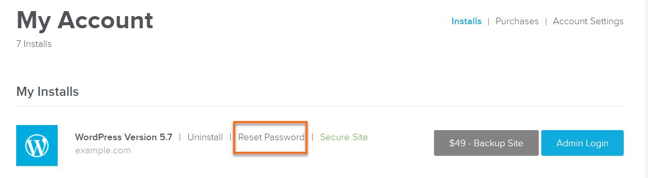 WordPress password reset link