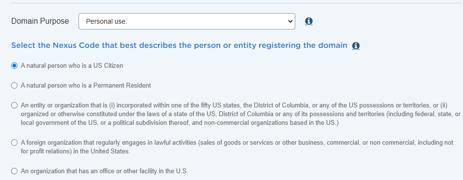 .us Domain Registraion Nexus Code and Purpose