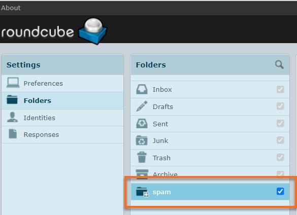 Roundcube spam folder