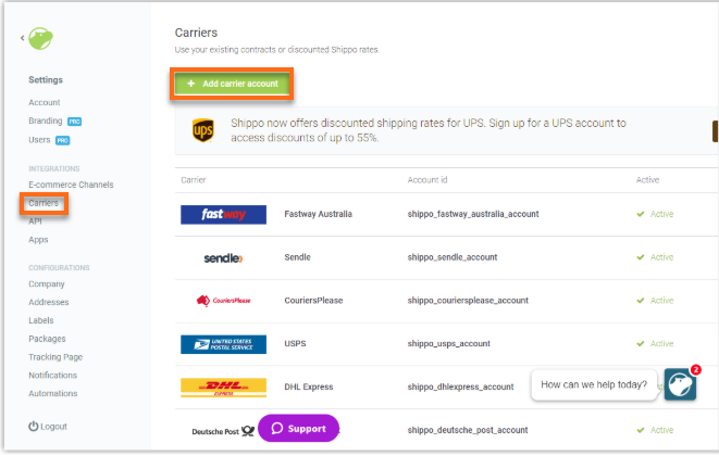 Hostgator website builder Shippo configure shipping carriers add new