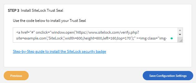 Step 3: Install SiteLock Trust Seal