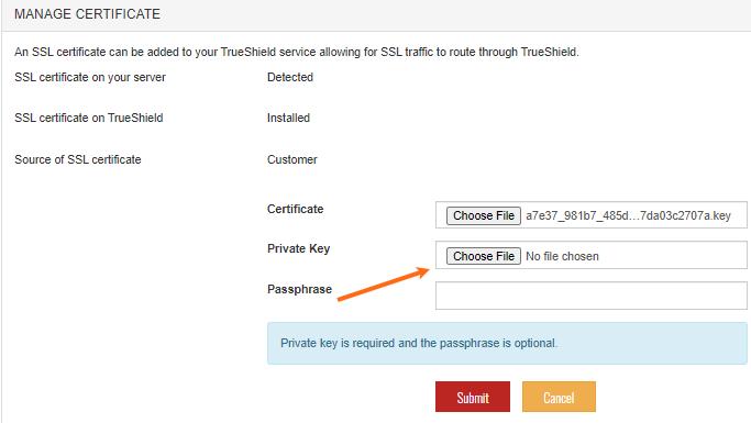 SiteLock Dashboard - Upload .key File