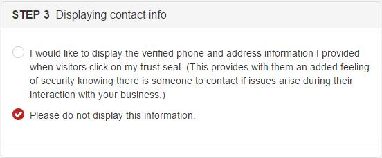 SiteLock Display Contact Info
