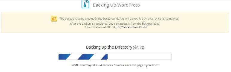 Softaculous - Backup Progress