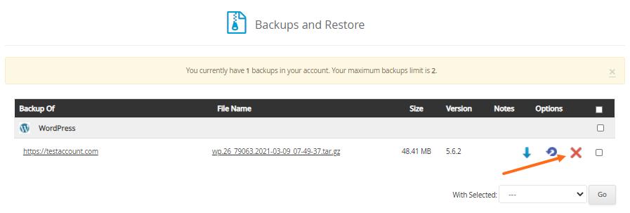 Softaculous - Delete Backup Icon
