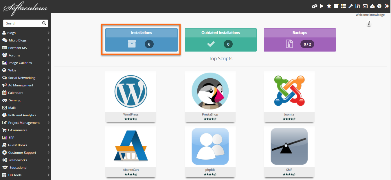 Softaculous WordPress Installation