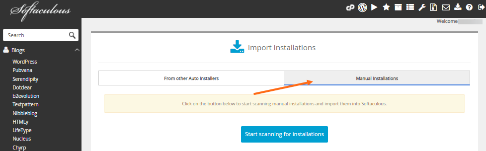 Softaculous - Manual Installations Tab