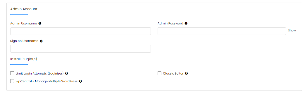 Softaculous - Admin Account