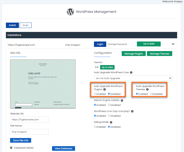 WordPress Manager - Update Plugins or Themes