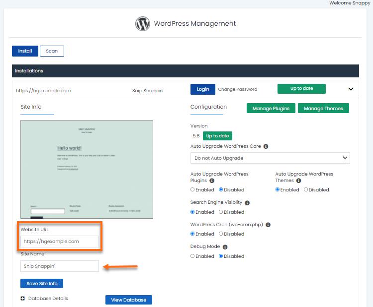 WordPress Manager - Change Site URL