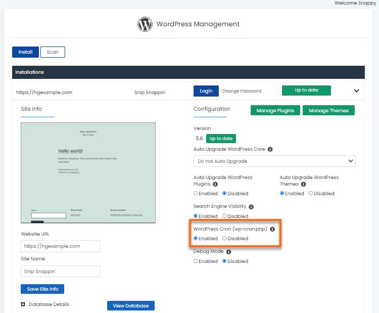 WordPress Manager - Cron Jobs