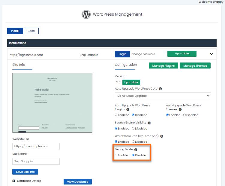 WordPress Manager - Debug Mode