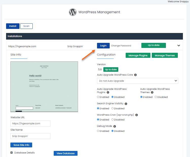 WordPress Manager - Login