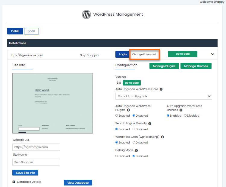 WordPress Manager - Change Password