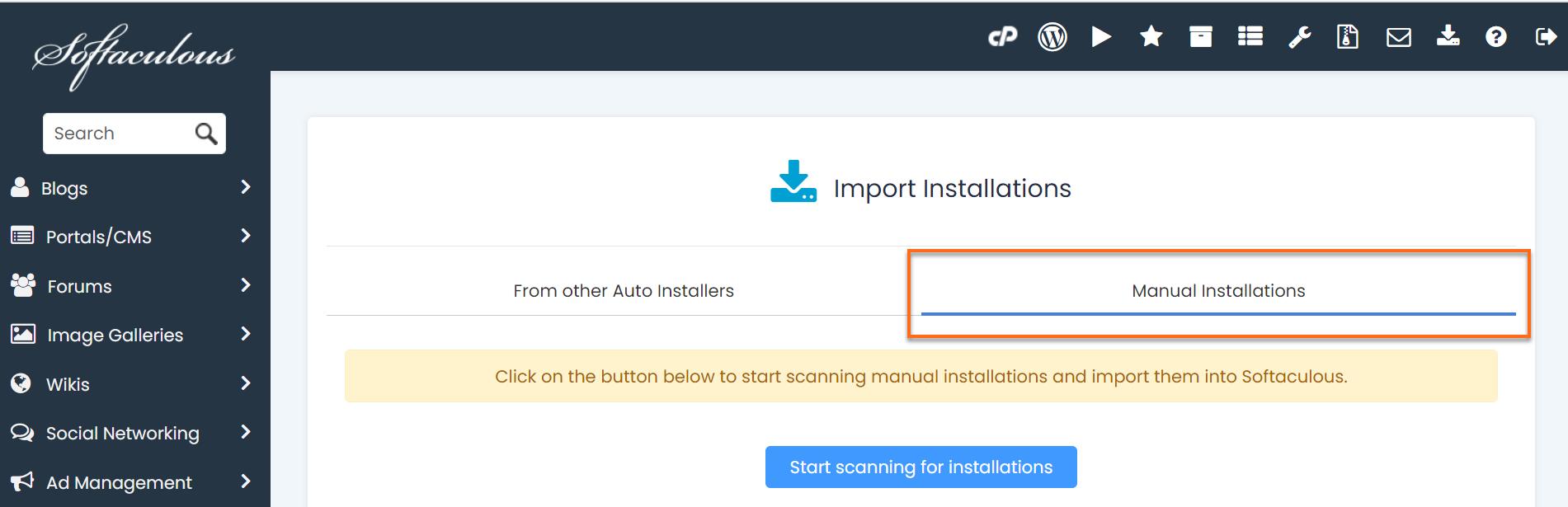 Softaculous Manual Installations tab