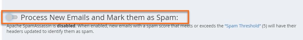 Disabled SpamAssassin