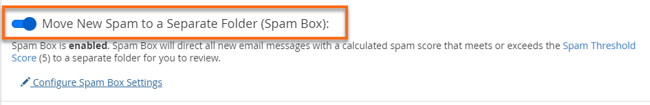Spambox is enabled