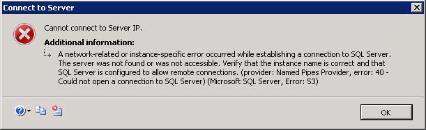 IP Connection Failed