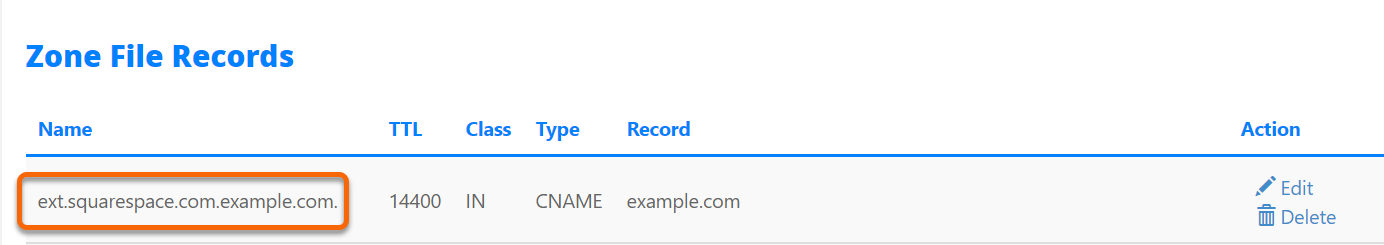 Squrespace Cname Record