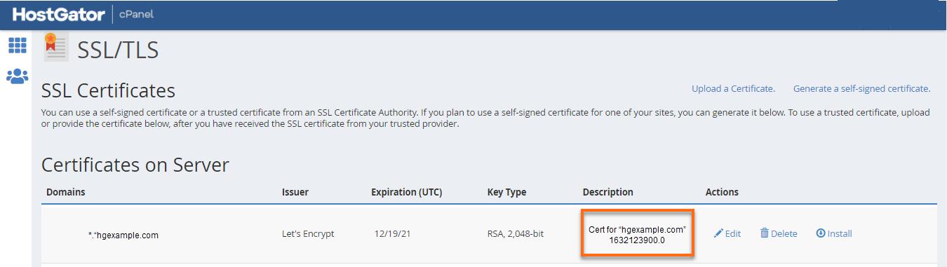 Certificate Description