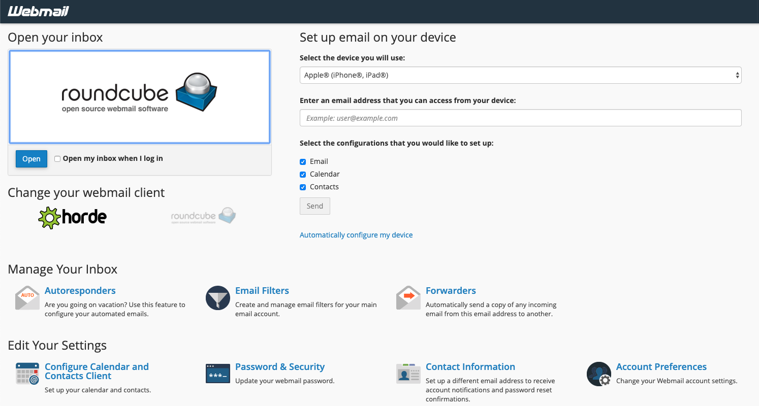 HostGator cPanel Webmail Options