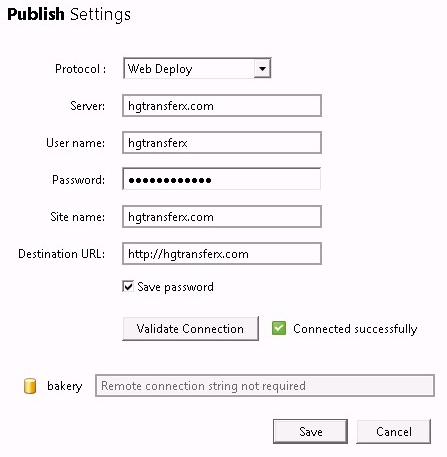 WebMatrix Publishing Settings