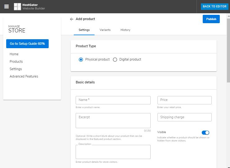 Website Builder - Add Product Details