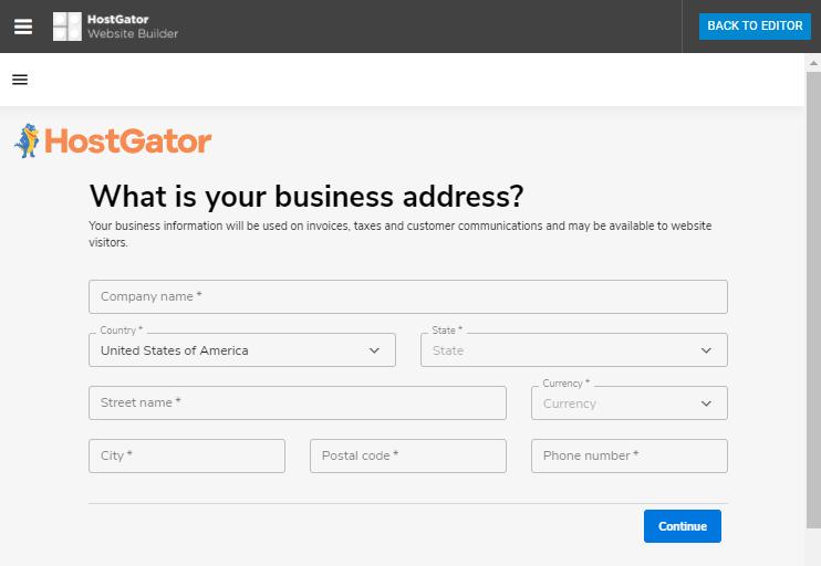 Website Builder - Add Business Address
