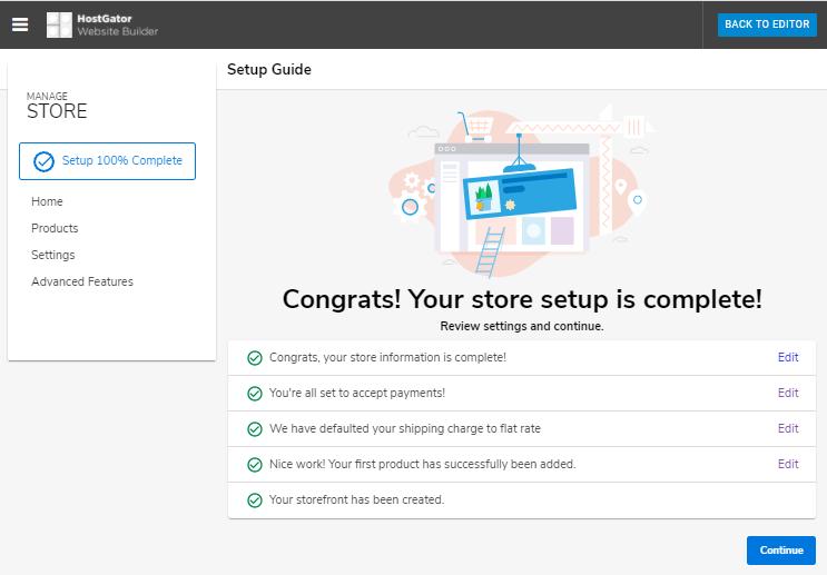 Website Builder - Store Information Complete
