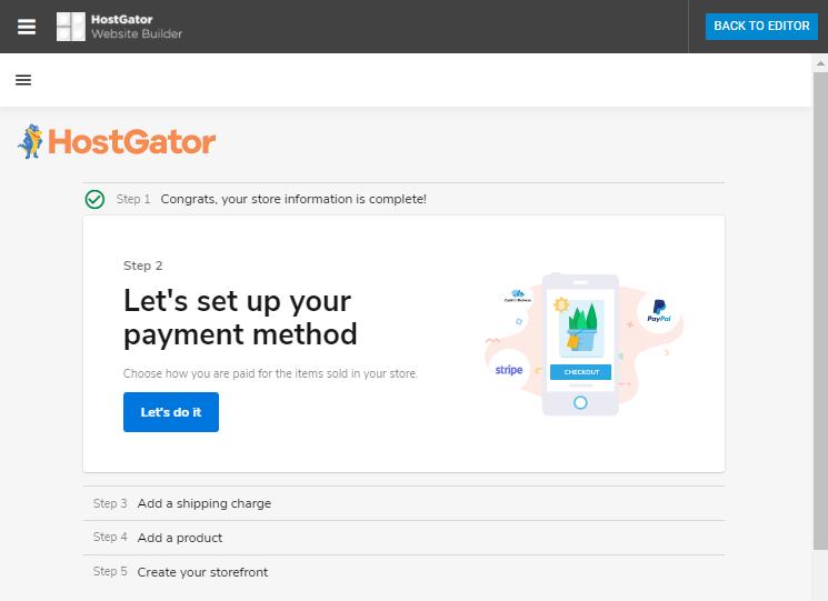 Website Builder - Set up Payment Method