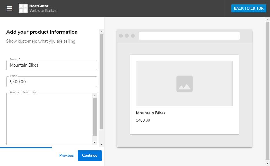 Hostgator website builder store adding first product description