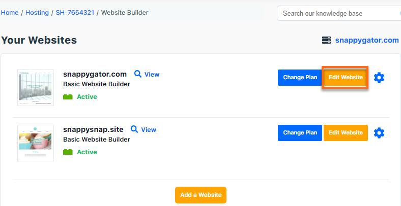 Hostgator Customer Portal Website Builder Card with Manage Button