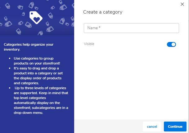 Hostgator website builder adding new product category