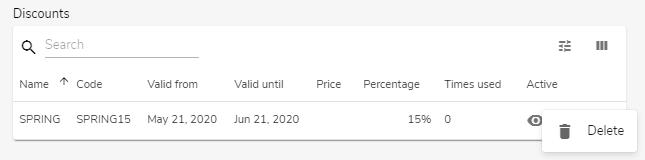 Hostgator website builder list of discounts with option to delete discount