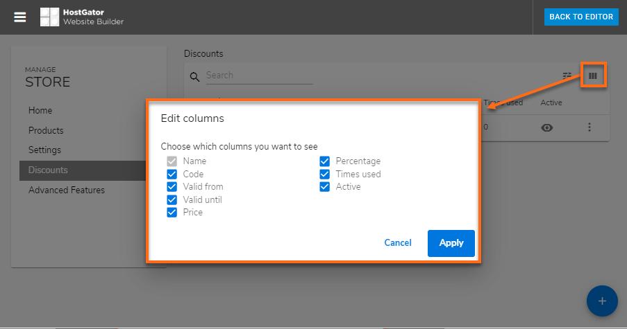 Hostgator website builder edit columns to show information for discounts