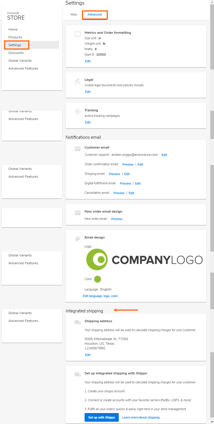 Website Builder - Integrated Shipping - Enabled