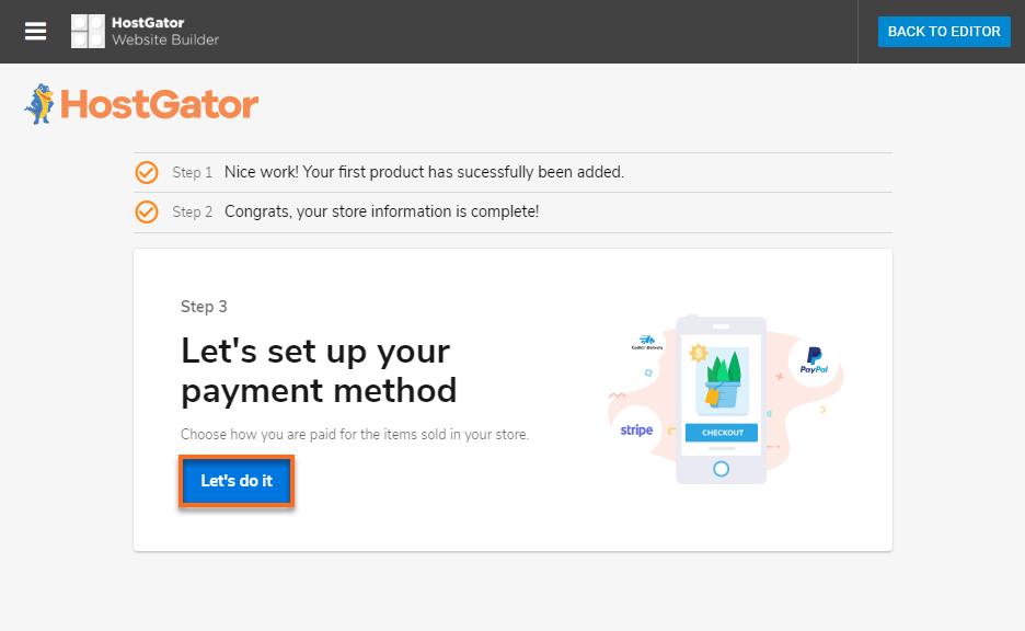 Hostgator Website Builder Payment Method Configuration