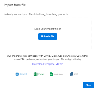 Website Builder - Products - Import File