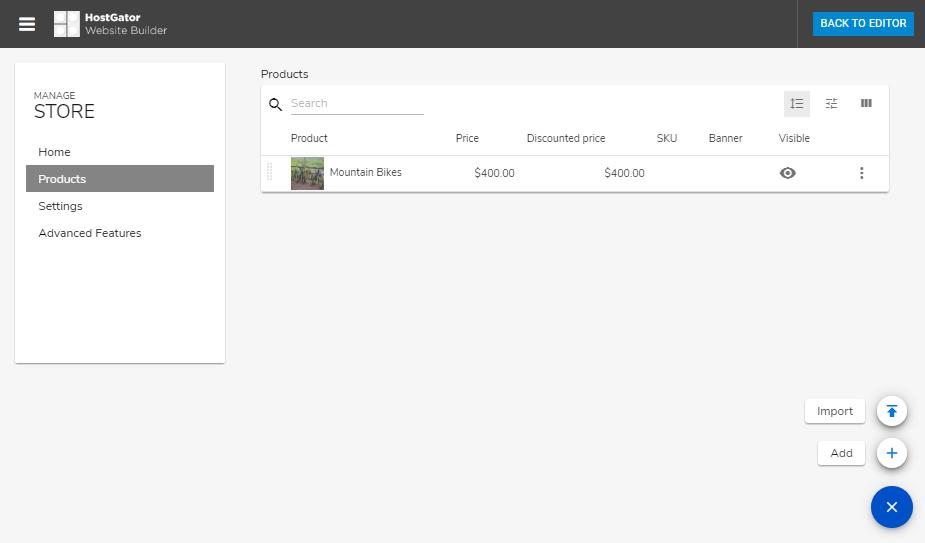 Hostgator website builder products page
