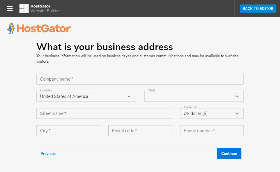 Hostgator website builder store settings review of business address