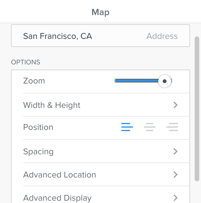 The Popup for the Google Maps element in Weebly