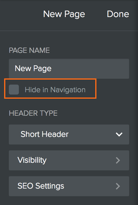 Weebly - Pages - Hide in Navigation
