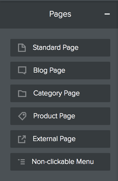 Weebly - Pages - Select Page Type