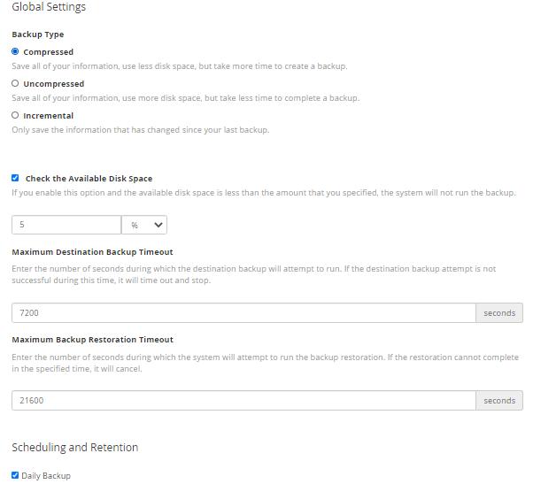 HostGator - WHM - Backups - Global Settings