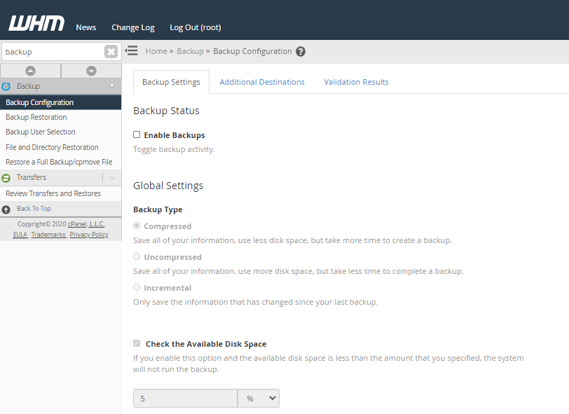 HostGator - WHM - Backup Configuration Settings