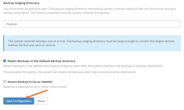 HostGator - Backup Configuration - Save Configuration