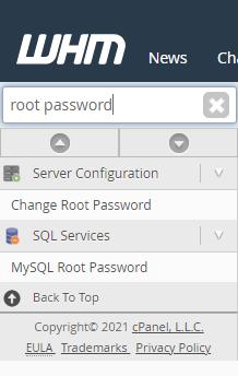 WHM - Change Root Password