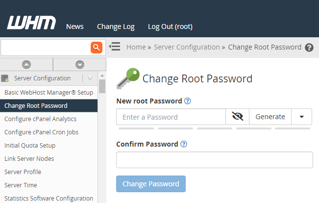 change root password field